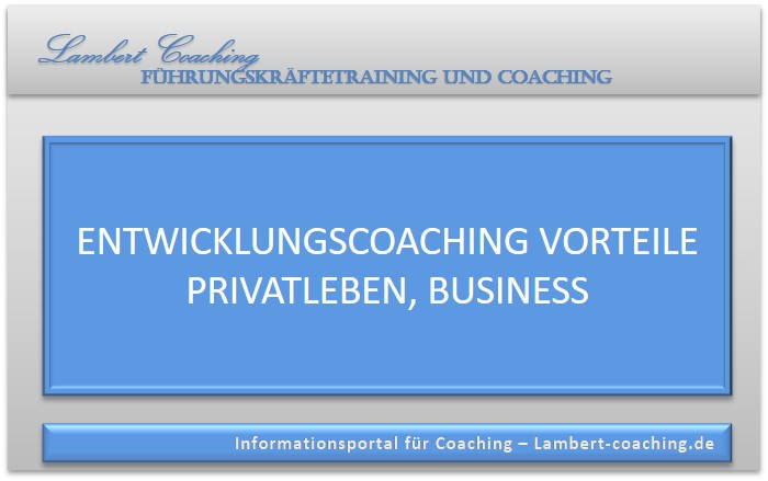 Entwicklungscoaching Vorteile Privatleben, Business